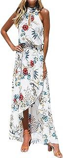 LATH.PIN - Vestito da spiaggia estivo da donna, motivo floreale, con spalle scoperte e fessura frontale, abito bohemien, l...