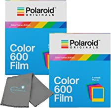 Polaroid Originals Color Instant Film for 600 and i-Type Cameras Color Frames 2 Pack Bundle with a Lumintrail Cleaning Cloth
