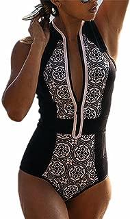 CFR Women's One Piece Zipper Retro Print Bikini Push Up Monokini Conjoined Bathing Suit
