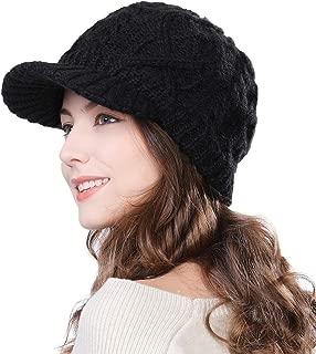 Womens Knit Visor Beanie Newsboy Cap Winter Warm Hat Cold Snow Weather Girl 55-60cm