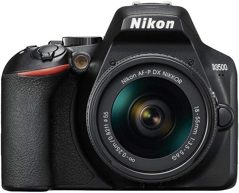 Nikon D3500 - Cámara Réflex Kit con Objetivo 18/55 24.2 MP DX CMOS montura F ISO 100-25600 USB LCD TFT de 3.2 botón AE-L/AF-L CPU Modo Automático color negro