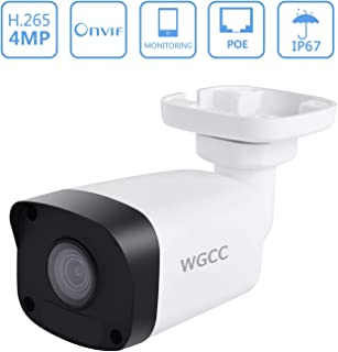 WGCC PoE IP Camera 4MP 4.0MM Super HD Outdoor Security Surveillance Bullet IP Camera with 98ft Night Vision, Remote Viewing, Motion Detection, IP66 Waterproof and Push Alerts for Android/iOS/PC