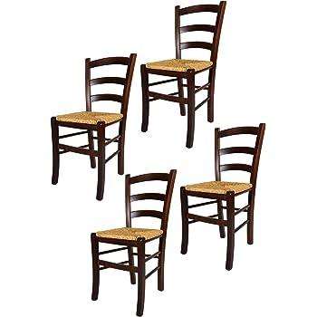 Tommychairs Set 4 sedie modello Venezia per cucina bar e sala da pranzo, robusta struttura in legno di faggio color noce scuro e seduta in paglia
