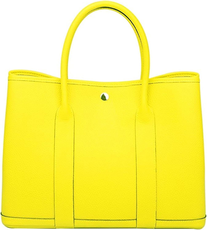 Genuine Leather Tote Bag Top Handle Handbags Lemon Yellow