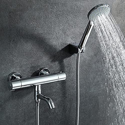 Conjunto de ducha simple de temperatura constante, conjuntiva Split 3 Ducha artesanal, interruptor de salida de agua giratoria de 3 controles de 3 controles, altura ajustable, lleve a una experiencia