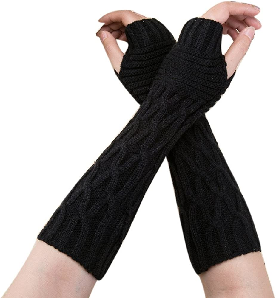 GREFER-Women Cable Knit Arm Warmers Fingerless Gloves Thumb Hole Gloves Mittens