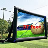 37' No Seam Huge Inflatable Projector Movie Screen Outdoor Incl. Blower - Front and Rear Projection Mega Blow Up Theater Screen with Stand for Outside Use (37ft with Blower)