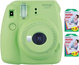Fujifilm Instax Mini 9 Instant Camera (Lime Green) with 2 x Instant Twin Film Pack (40 Exposures)