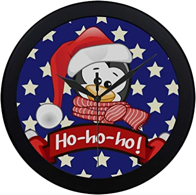 Modern Simple Christmas Illustration Cartoon Penguin Santas Hat Pattern Wall Clock Indoor Non-ticking Silent