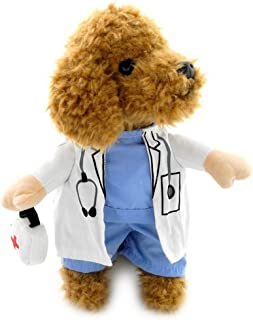 SELMAI Puppy Pet Dog Cat Doctor Suit Costume Fancy Dress Small Dog Coat Medicine Box Decorated All Seasons