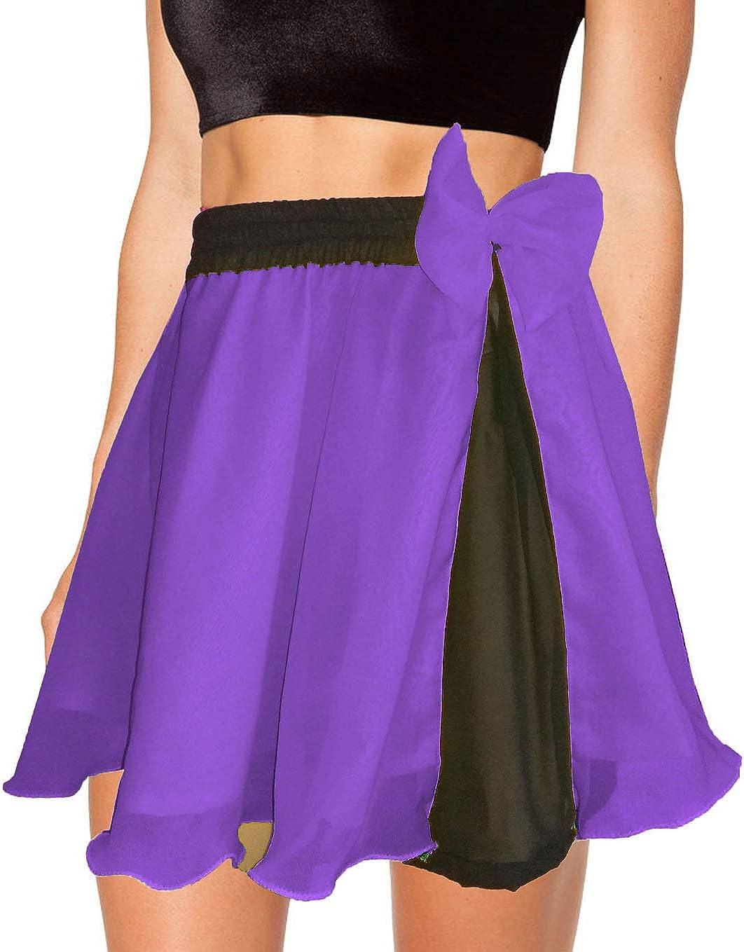 Meek Mercery Casual Wear Belly Dance Pleated Short Skirt Chiffon Short Skirt One Size C11