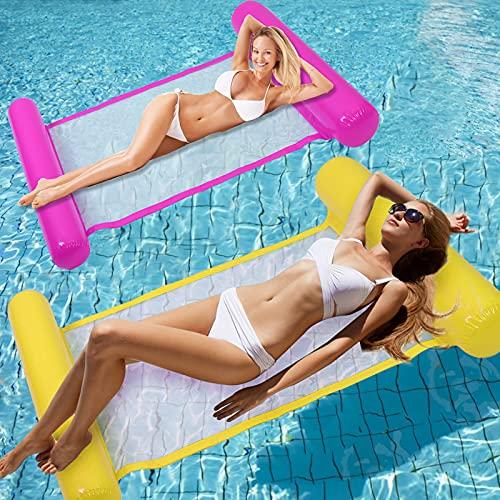 Water Hammock 4-in-1 Multi-Purpose Hammock Inflatable Pool Float Fun Backyard Swimming Pool Saddle Chair Hammock Drifter for Adults