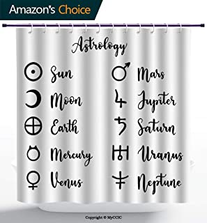 MyCCIC AM02540 Venus Cool Shower Curtain/Monochrome Cursive Lettering with Planets and Astrology Signs Illustration/Heavy-Duty Fabric Shower Curtains Charcoal Grey White