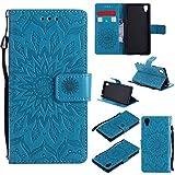 Jeewi Hülle für Sony [Xperia X Performance] Hülle Handyhülle [Standfunktion] [Kartenfach] [Magnetverschluss] Tasche Etui Schutzhülle lederhülle flip case für Xperia X Performance - JEKT032523 Blau