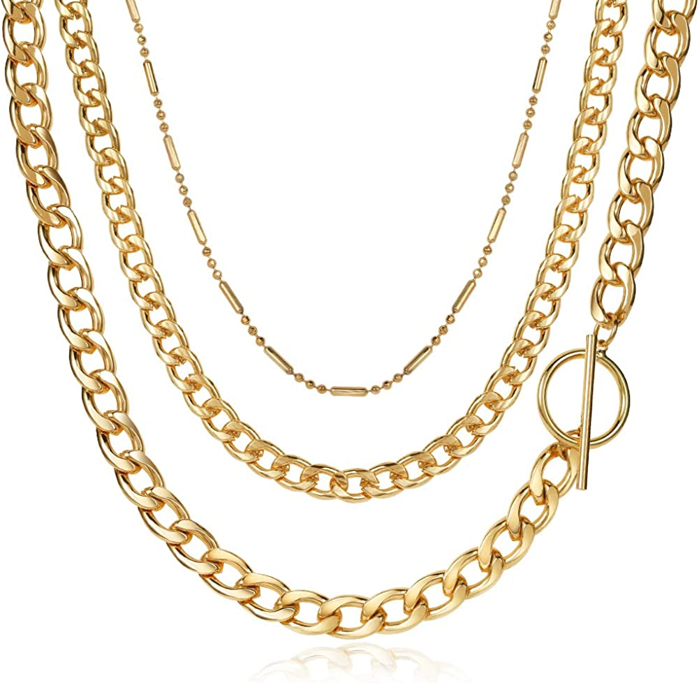 LILIE&WHITE Chunky Gold Chain Necklaces for Women Cuban Chain Necklace Multi Layered Women Necklace Jewelry Gift Dainty Choker Necklaces