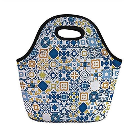 Geel en blauw, Mozaïek Portugees Azulejo Mediterraans Arabisch Effect Decoratief, Violet Blauw Mosterd Wit, voor Kinderen Volwassen Thermische Tassen