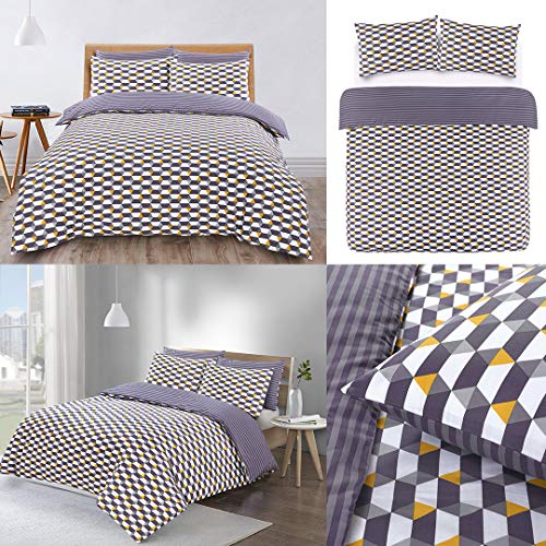 Night Comfort Cotton Blend Eco Breathable Duvet Cover Bedding Set With Pillowcases (Single, Riley - Grey Mustard Geometric)