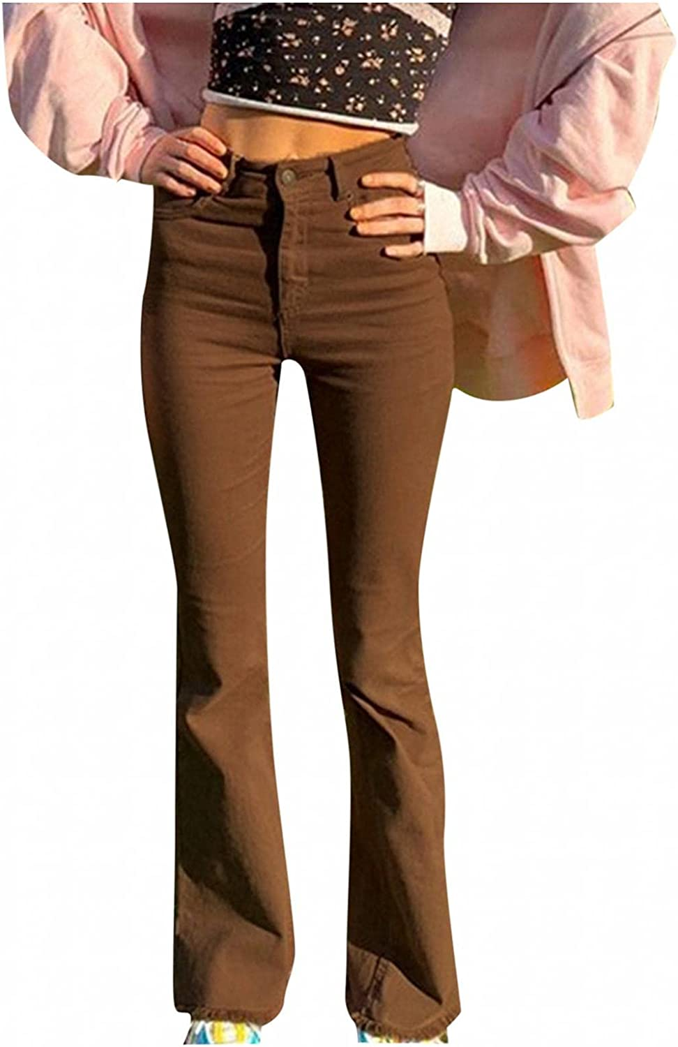Lingbing Y2K Fashion Jeans for Women, Teen Girls Vintage Brown Pants Slim Fit Flared Trousers Casual Straight Leg Pants