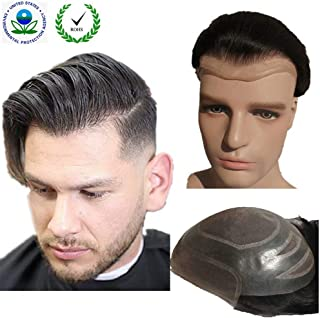 Toupee for men Hair pieces for men N.L.W. European virgin human hair replacement system..