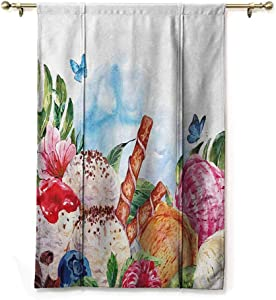 """Kitchen Curtains and Valances Tropical Decoration Shade Corner Window Drapery Flowers and Butterflies with Ice Cream Berry Sauce and Chocolate Dessert Summer for Dinning Room Decor 23"""" W x 63"""" L"""