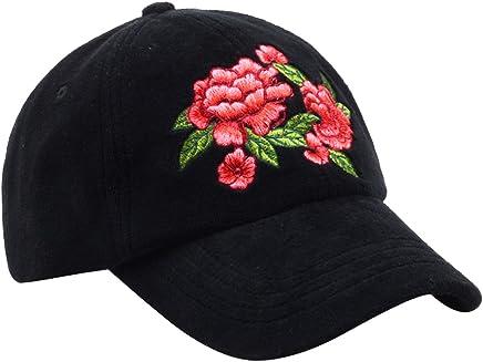 d444784549c Hatphile Womens Velvet Floral Embroidery Black Dad Cap