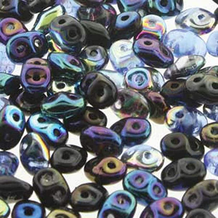 Midnight SuperDuo Czech Two Hole Seed Beads 2.5x5mm Approx 20 Grams ugajqpmop133