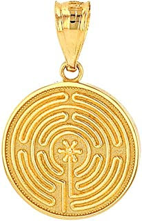 Dainty 14k Yellow Gold Chartres Meditation Labyrinth Disc Charm Pendant