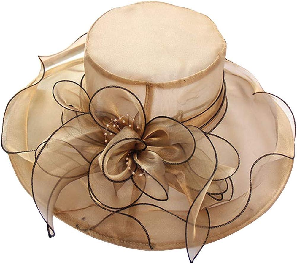 Women'S Organza Church Kentucky Derby British Fascinator Bridal Tea Party Wedding Hat For Ladies