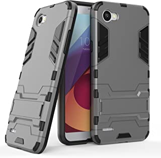 MaiJin Funda para LG Q6 (5,5 Pulgadas) 2 en 1 Híbrida Rugged Armor Case Choque Absorción Protección Dual Layer Bumper Carcasa con Pata de Cabra (Gris)