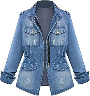 Zipper Denim Jackets for Women - Plus Size Long Sleeve Lapel Denim Coat Winter Casual Tops Fashion Outerwear