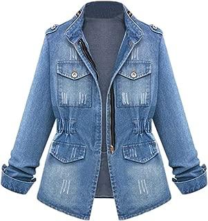 HOSOME Women Jeans Chain Jacket Plus Size Casual Ladies Denim Oversize Pocket Coat