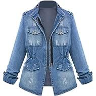 HOSOME Women Jeans Chain Jacket... HOSOME Women Jeans Chain Jacket Plus Size Casual Ladies Denim Oversize Pocket Coat