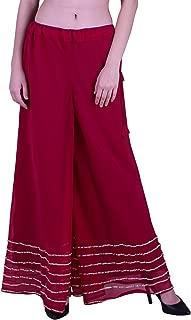 Shararat Women's Palazzo Pant Georgette Loose Wide Lace Work High Waist Sharara