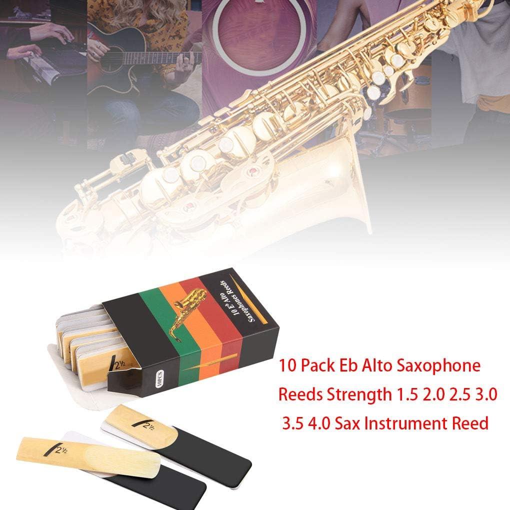 Guangcailun 10pcs EB Alto Saxophone Tono de l/ámina Flexible del saxof/ón del saxof/ón EB ca/ña Reed con Caja de Almacenamiento de Accesorios Musical Instrument 2,0 Fuerza