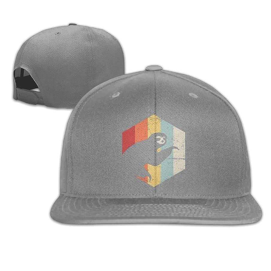 Aiguan Retro Sloth Flat Visor Baseball Cap, Fashion Snapback Hat Navy