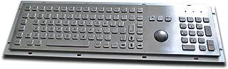 Metallic Keyboard with Trackball and Numeric Keypad - US Layout - USB Interface - Full Size Kiosk Keyboard