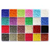 BALABEAD Size Almost Uniform Seed Beads 24000pcs in Box Opaque Color Seed Beads 24 Multicolor Assortment 12/0...