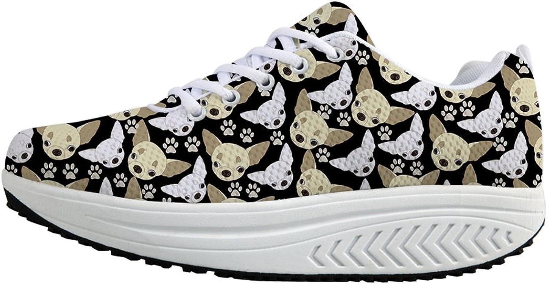Fashion Print Fitness Walking Sneaker Casual Women's Wedges Platform shoes US 5.5
