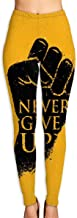 familygam Yoga Pants Womens Never Give Up Motivation Poster Concept High Waist Workout Pants