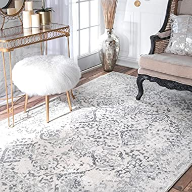 nuLOOM Traditional Vintage L Ornament Bd21 Area Rugs, 6' 7  x 9', Ivory