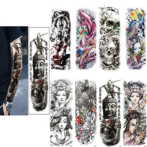 SOFIALXC Tatuajes Temporales - Arte del Tatuaje del Dragón Cruz Diseños Corporales, Brazo, Cuello En El Hombro, Pecho Y Tatuajes Falsos para La Espalda para Hombres, Mujeres,8packs,H
