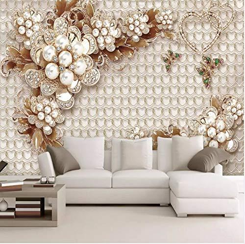 Gwgdjk Personalizzato Po Wallpaper 3D Gioielli Di Lusso Fiori Murale Soggiorno Tv Divano El Home Decor Carte Da Parati Per Pareti 3 D Affreschi-280X200Cm (112 * 80Inch)