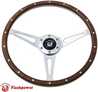 Flashpower 15'' Classic Wood Steering Wheel Riveted with Horn Button