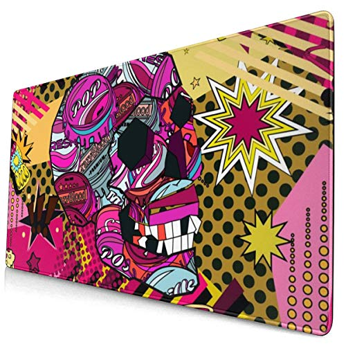Large Mouse Pad Pop Art Object Skull XL Extended Gaming Mouse Pad Portable Waterproof Writing Pad for Mouse Office, Home, Non-Slip Rubber Base