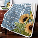 "FunDecorArt Positive Attitude Healing Throw Blanket, Sherpa Microfiber Comfort Caring Gift Throw - Hope Faith Sunflower Gift for Women Men Patient Older Parent 39"" x 49"""