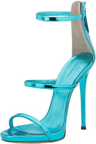 ZHANG8 Femmes Fermeture éclair Clair Open Toe Sandales Stylet Talon Haut Mules Partie Sexy Chaussures, bleu