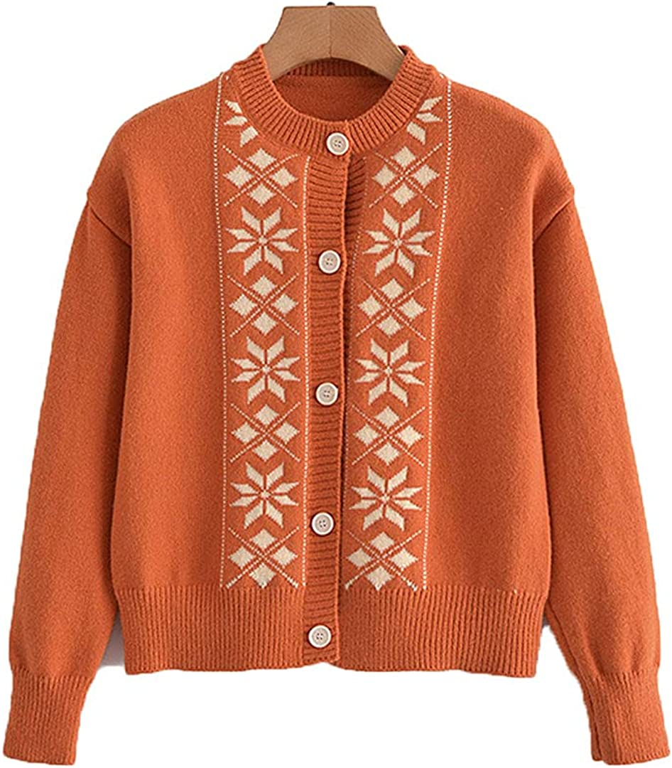 Autumn O New Orleans Mall Neck All items free shipping Knitted Cardigan Female Vintage Print Chic Jacket