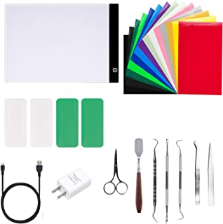 24 Pieces Craft Weeding Tools Set Craft Vinyl Tools with A4 Adjustable LED Light Box for Brightly See The Cut Lines Better