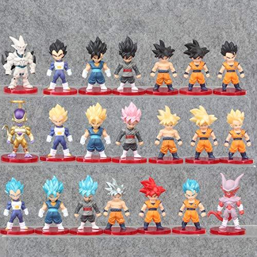 21 pcs/set Dragon Ball Figura Goku Vegeta Super Saiyan Frieza Anime Modello 7-8 CM Action Figures Giocattoli per la Decorazione Della Torta Regalo Di Compleanno