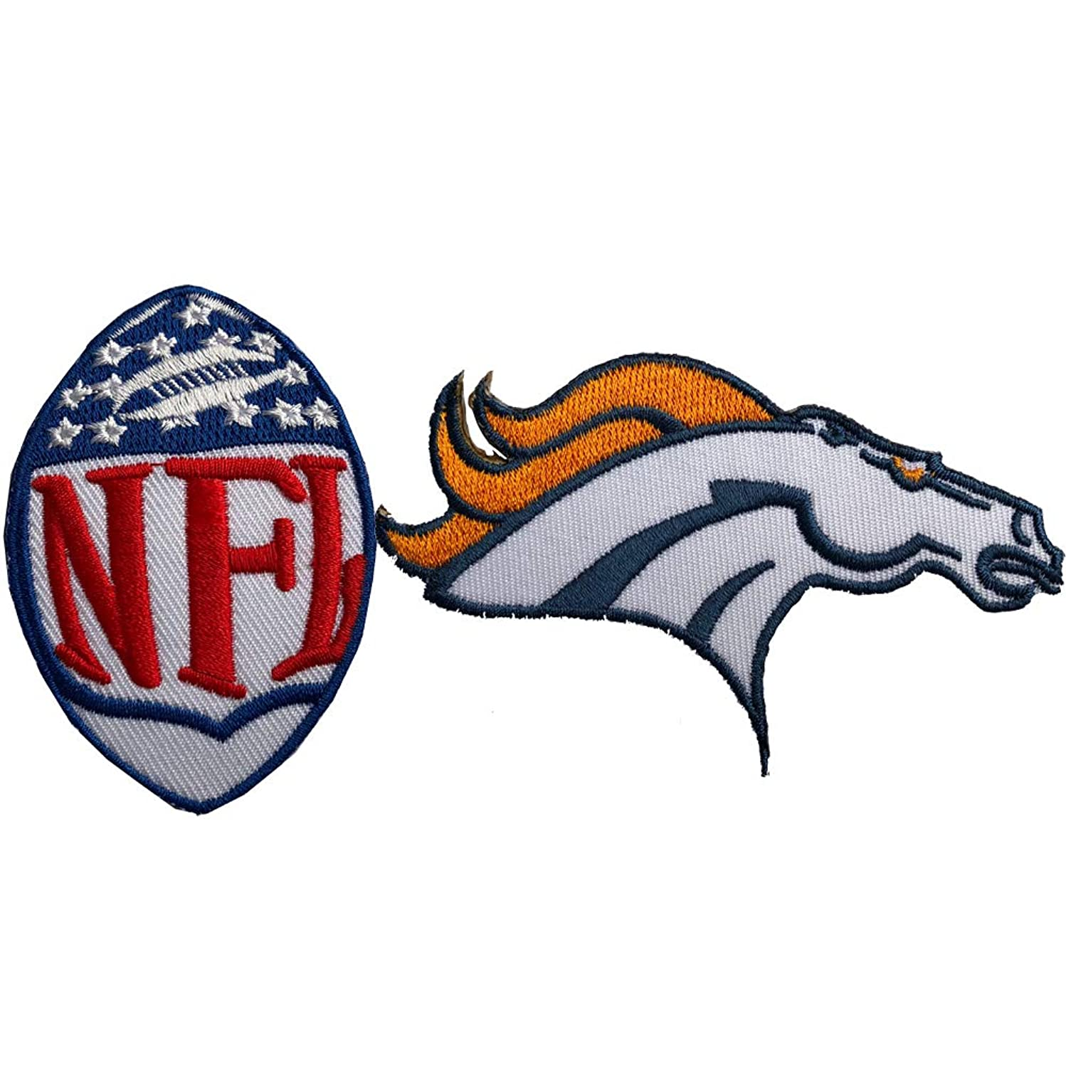 Hipatch Denver Broncos Embroidered Patch Iron on Logo Vest Jacket Cap Hoodie Backpack Patch Iron On/sew on Patch Set of 2Pcs